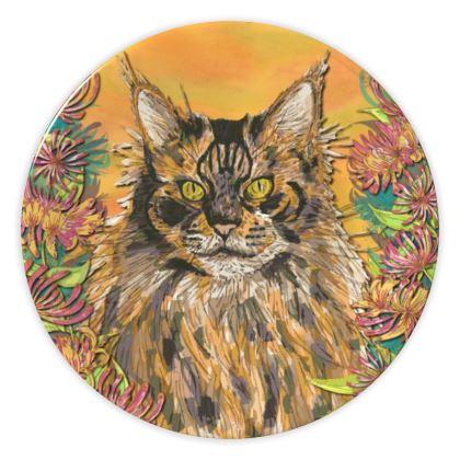 Fluffy Cat China Plate