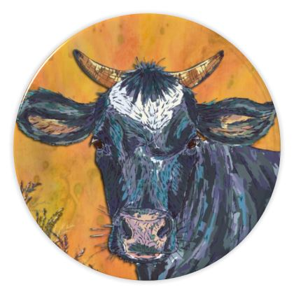 Colourful Cow China Plate