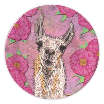 Pink Llama China Plate