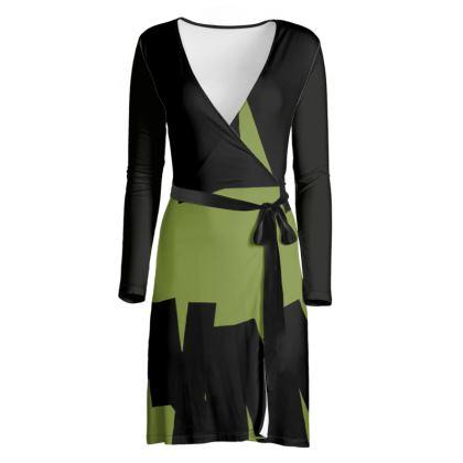 iJometri Collection Wrap Dress—Green & Black