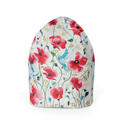 Poppies and two doves Beanie
