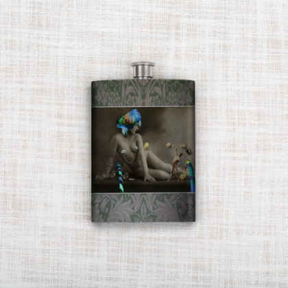 The Showgirl and The Strongman Hip Flask