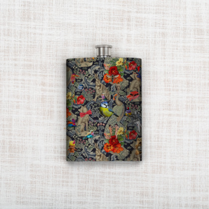 And Another Thing Blue Tit Hip Flask