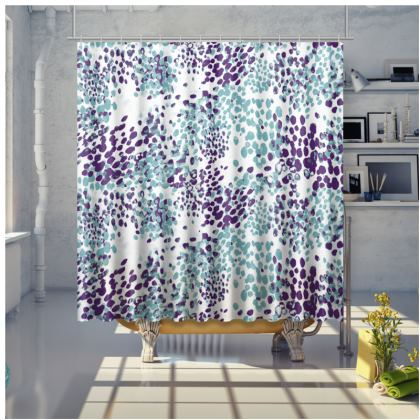 Spotted shower curtain