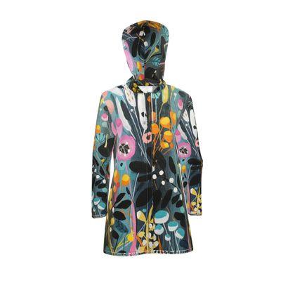 Womens Hooded Rain Mac in Natalie Rymer Wild Flowers print