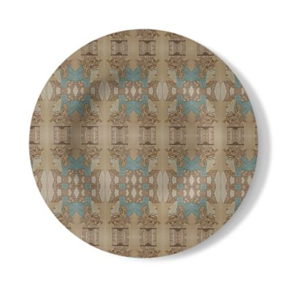 Decorative Plate with Nefertari design in Brown and Blue