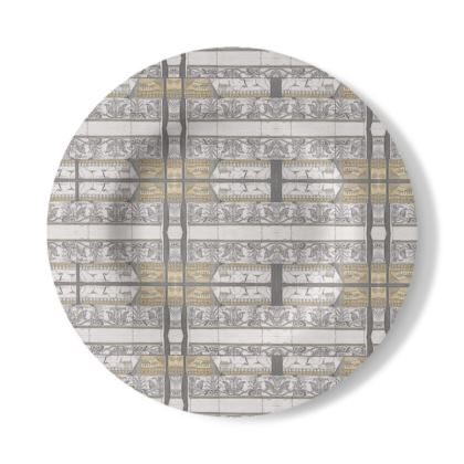 Decorative Plate with Antiquity Design in Cream and White