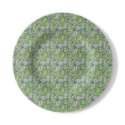 Decorative Plate with Butterfly Design in Green and White