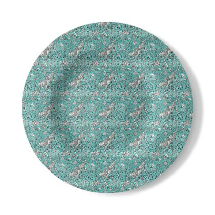 Decorative Plate with Blue Chinoiserie Design.