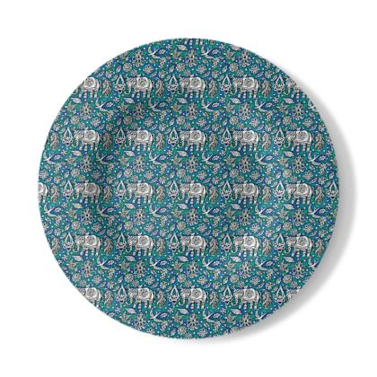 Decorative Plate with Oriental Elephant Design in Blue and White