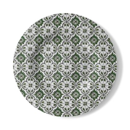 Decorative Plate with Majolica Design in Green and White