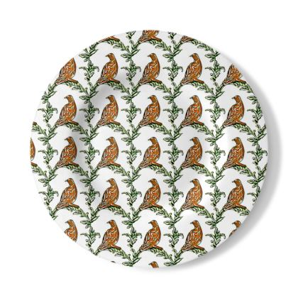 Decorative Plate with Partridge Design in Brown, White and Green