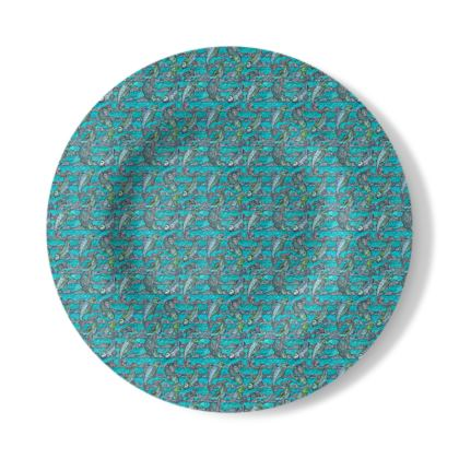 Decorative Plate with Pisca Design in Blue and White