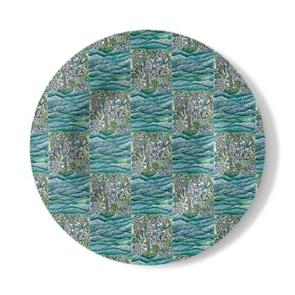 Decorative Plate with Underwater Design in Green and Blue