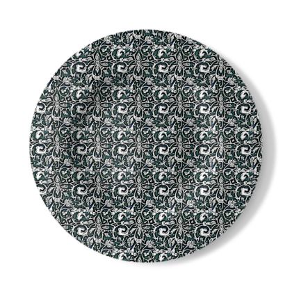 Decorative Plate with Victoriana Design in Black, White and Green