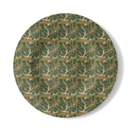 Decorative Plate with Hornbeam Design in Green and Brown