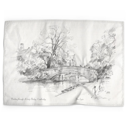 Punting through King's bridge cotton-linen Tea Towel