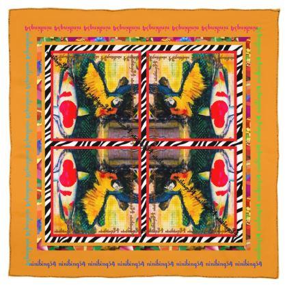 178,-  Schal/Halstuch Seiden Satin 85 gr/m2 #ninibing34 PARROT KOI das KLEINE FRECHE mit 90 x 90 cm