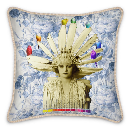 My Budgie Headdress Silk Cushion