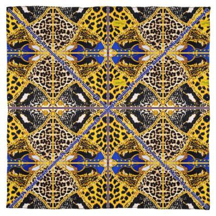 #ninibing34 blue gold TIGER  115 x 115 cm 100% reine Satin SEIDE