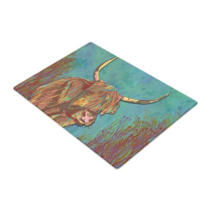 Highland Cow Glass Chopping Board
