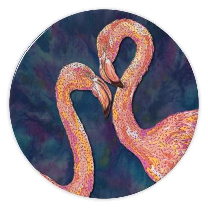 Pink Flamingo China Plates