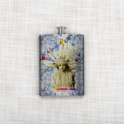 My Budgie Headdress Hip Flask