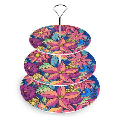 Cake Stand -  flowers upon flowers