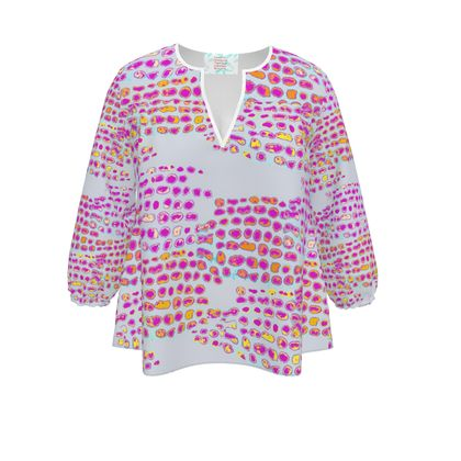 Textural Collection in grey and magenta Womens Blouse