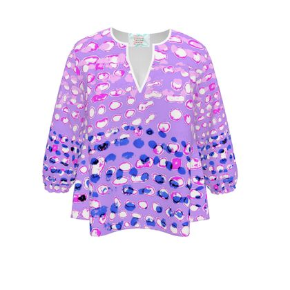 Textural Collection multicolored in mauve and blue Womens Blouse