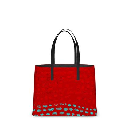 Textural Collection in red and turquoise Kika Tote