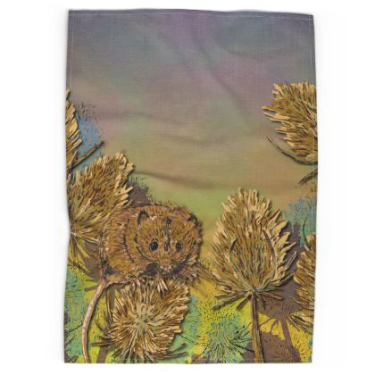 Harvest Mouse & Teasels Tea Towel