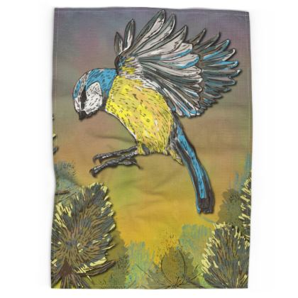 Blue Tit & Teasels Tea Towel