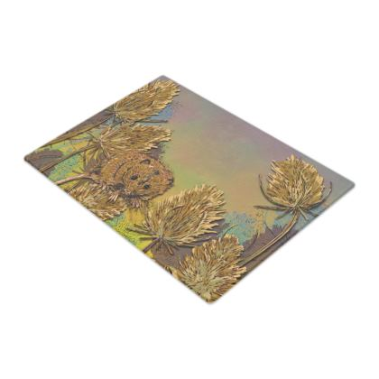 Harvest Mouse & Teasel Glass Chopping Board