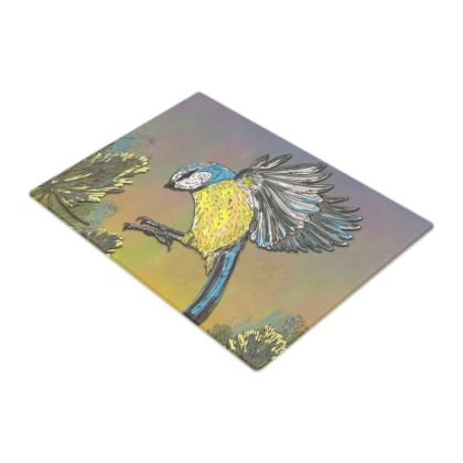 Blue Tit & Teasel Glass Chopping Board