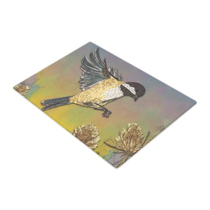 Coal Tit & Teasel Glass Chopping Board