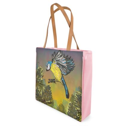 Blue Tit & Teasel Shopper Bag