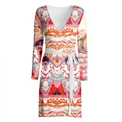 225,50 € AWESOME WICKELKLEID! WRAP CHILLED DRESS: NINIBING34 INTERPRETIERT DIE FLAMINGOS NEU AUF DIESEM ZAUBERHAFTEN WICKELKLEID Wickelkleid warp Dress size 42