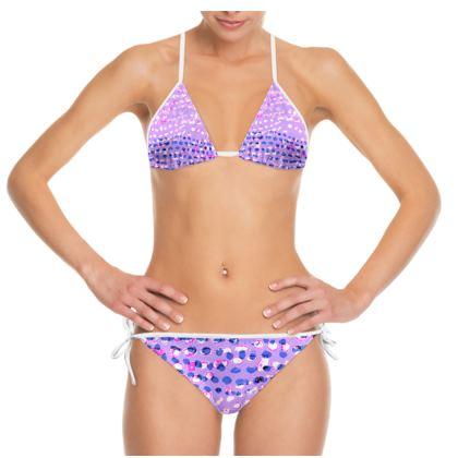 Textural Collection multicolored in mauve and blue Bikini