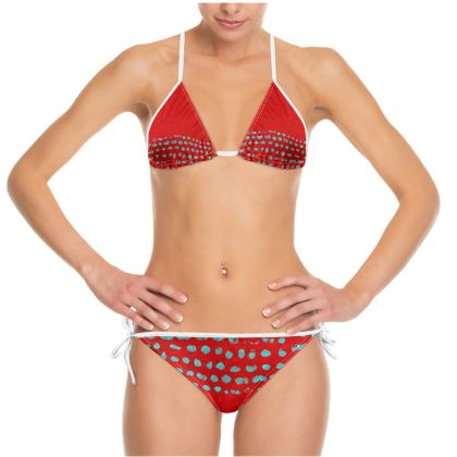 Textural Collection in red and turquoise Bikini
