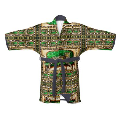 239,- Kimono Morgenmantel plüschiger Samt size XL GREEN JAGUAR AFRICAANS
