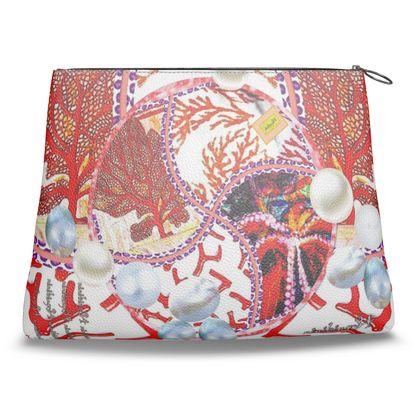 279,- Clutch-Tasche Nappaleder DESIGNER Clutch PEARLS & Corals