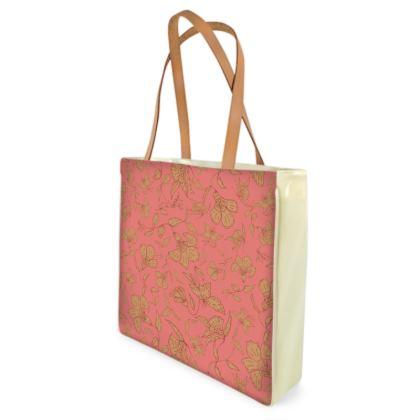 Tropical Coral Floral Shopper Bag