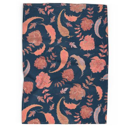 Patterns of Paradise (Coral & Blue) Tea Towel