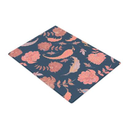 Patterns of Paradise (Coral & Blue) Glass Chopping Board