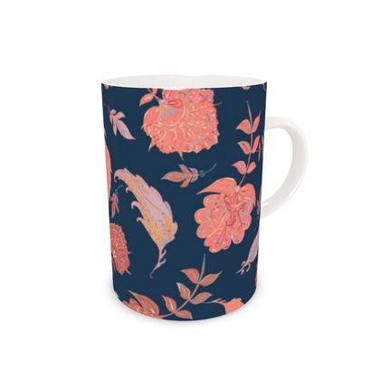 Patterns of Paradise (Coral & Blue) Bone China Mug