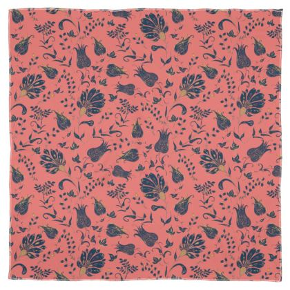 Floral Paradise Patterns (Coral & Blue) Scarf Wrap or Shawl
