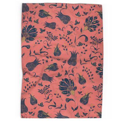 Floral Paradise Patterns (Coral & Blue) Tea Towel