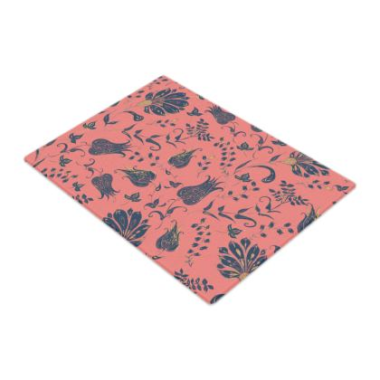 Floral Paradise Patterns (Coral & Blue) Glass Chopping Board