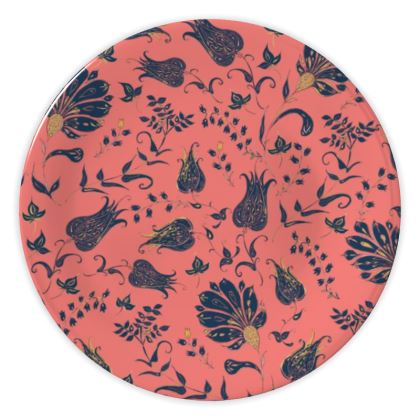 Floral Paradise Patterns (Coral & Blue) China Plate